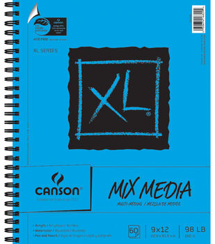 """Canson XL Spiral Multi-Media Paper Pad 9""""X12""""-60 Sheets"""