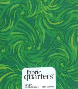 Fabric-Quarters Cotton Fabric-Assorted Green
