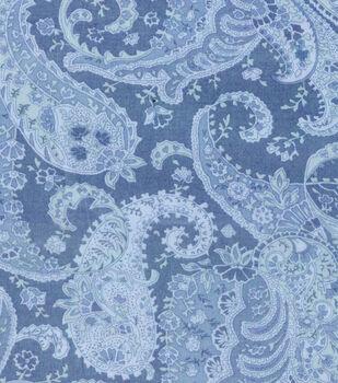 """Wide Cotton Fabric-108"""" Large Blue Paisley"""