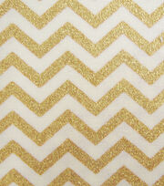 Keepsake Calico™ Cotton Fabric-Cream with Gold Metallic Chevron, , hi-res