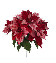Blooming Holiday Gingham Poinsettia Bush-Red & White, , hi-res