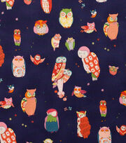 Alexander Henry Cotton Fabric-Spotted Owl  Navy, , hi-res