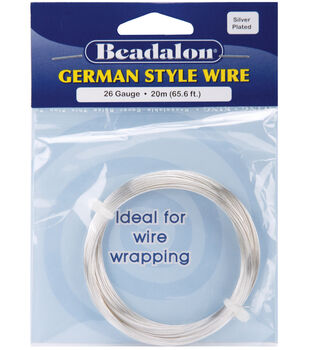 Beadalon German Style Round Wire 26 Gauge 65.5 Feet/Pkg-Silver