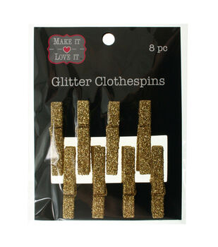Make It Love It™ Glitter Clothespins Gold