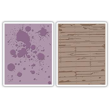 Sizzix Texture Fades Embossing Folders Ink Splats & Wood Planks