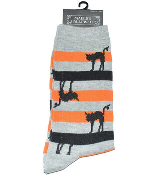 Maker's Halloween Socks-Cat Stripe Crew