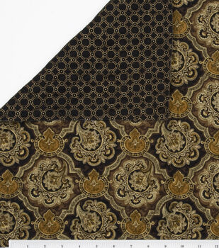 Double Face Cotton Fabric-Black/Brown Floral & Rings