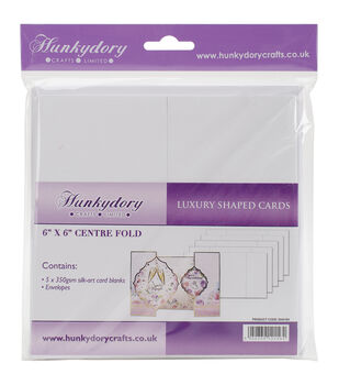 Hunkydory Luxury Silk Art Shaped Cards With Envelopes White Center Fold