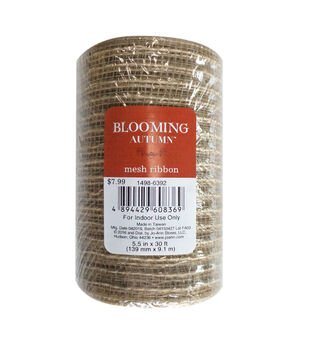 Blooming Autumn Mesh Ribbon 5.5''x30'-Natural with Gold
