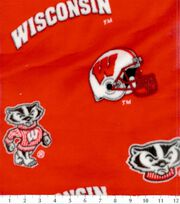University of Wisconsin NCAA  Fleece Fabric, , hi-res
