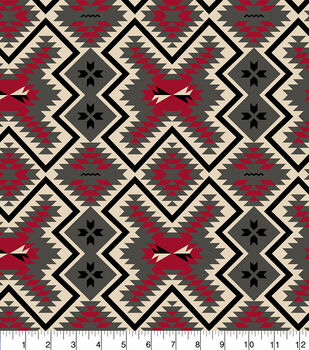 Snuggle Flannel Fabric 42''-Red & Gray Aztec