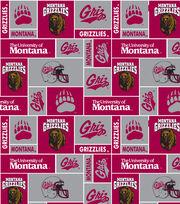University of Montana NCAA Red & Gray Block Fleece Fabric, , hi-res