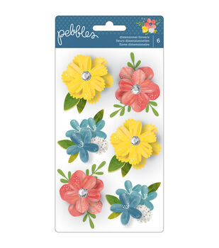 Pebbles Homegrown Layered Flowers Stickers
