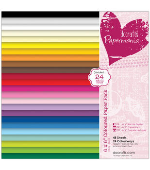 """Papermania Paper Pack 6""""X6"""" 48/Pkg-24 Solid Colors"""