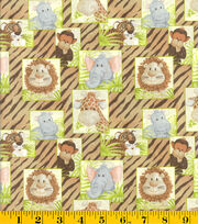 Nursery Fabric- Jungle Babies Scattered Grn, , hi-res