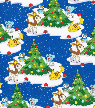 Christmas Cotton Fabric-Pokemon Christmas Scene
