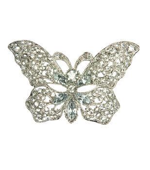 Laliberi Rhinestone Silver Butterfly Stone Pin