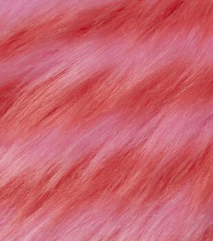 Fashion Faux Fur Fabric-Pink Orange