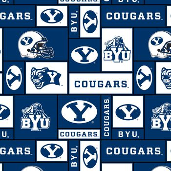 Brigham Young University NCAA Block Fleece Fabric
