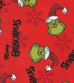 Christmas Cotton Fabric-Merry Grinchmas Red