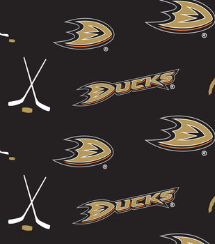 Anaheim Ducks NHL Tossed Print Fleece Fabric
