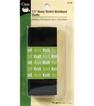 "Dritz 1 1/2"" Heavy Stretch Waistband Elastic  Black"
