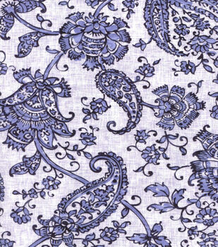 Buttercream™ Poppy Collection Cotton Fabric-Paisley Navy White