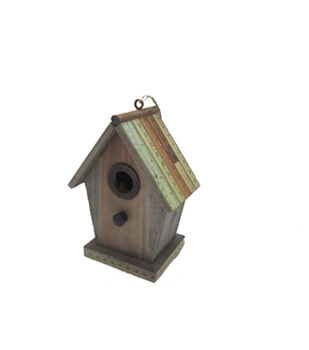 In The Garden Wood Birdhouse With Ruler Roof
