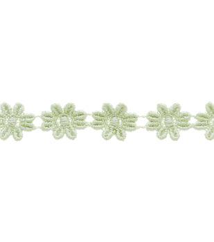 """1/2"""" Celadon Mini Daisy Venice Apparel Trim"""