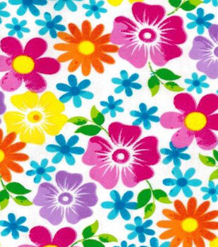 Snuggle Flannel Fabric-Watercolor Floral On White Background