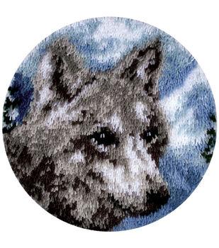 """Wonderart Latch Hook Kit 18"""" Round-Snow Wolf"""