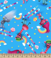 Dreamworks Trolls Cupcakes & Rainbows Cotton Fabric, , hi-res