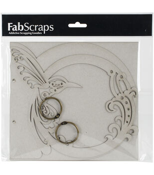 FabScraps Die-Cut Gray Chipboard Album-Bird