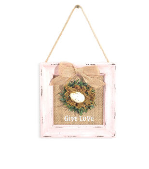 Easter Home Framed Burlap Wall Decor-Pink