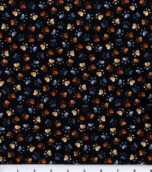 Novelty Cotton Fabric-Cat Paws Black