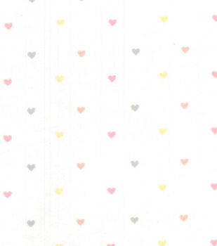 Nursery Fabric Heart On White Flannel