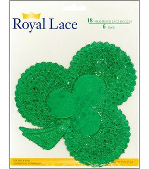 Royal Lace Paper Doilies Green Shamrock-6 Inch 18/Pkg