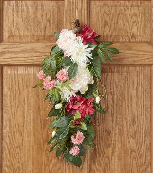 Spring Floral 26'' Red Mum Pink Peony Cream Clematis Teardrop