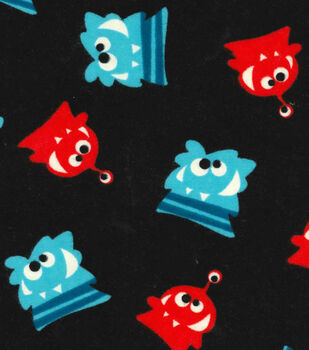 Glow In The Dark Flannel Fabric-Glow Monsters
