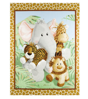 Nursery Fabric Jungle Babies Panel