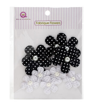 Black -fabrique Flowers 10p