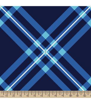 Blizzard Fleece Fabric-Diagonal Plaid Blue