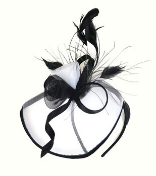 Maker's Halloween Deluxe Rose Headband With Feathers-White