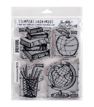 Stampers Anonymous Schoolhouse Blueprint Cling Rubber Stamp Set