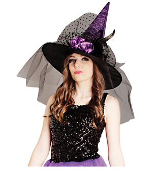 Maker's Halloween Witch Hat With Flowers-Purple