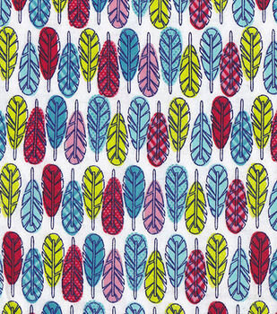 Snuggle Flannel Fabric-Colorful Feathers