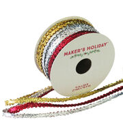 Maker's Holiday Metallic Ribbon 7mmx54'-Gold Silver & Red, , hi-res
