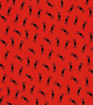 Halloween Cotton Fabric- Tossed Spiders On Orange