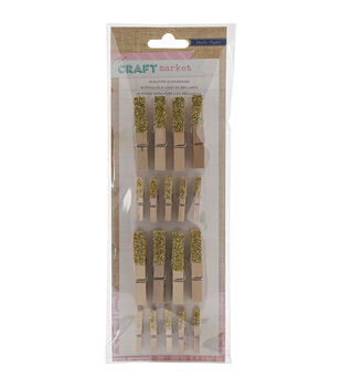 Crate Paper Craft Market Glittered Gold Clothespins