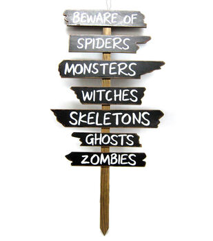 Maker's Halloween Wood Yard Stake-Beware Sign